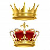 Real Royal Crown. Imperial Gold Luxury Monarchy Medieval Crowns For Heraldic Sign Isolated Realistic poster