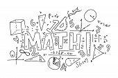 Informational Poster Set Doodle Inscription Math. Various Mathematical Formulas. Algebraic Calculati poster