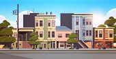 City Building Houses Exterior Modern Town Street In Summer Season Sunset Cityscape Background Horizo poster