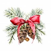 Watercolor Christmas Composition With Cones And Red Ribbon. Hand Painted Traditional Gold Bells With poster