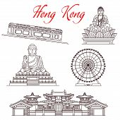 Hong Kong Travel Landmarks, Architecture And Famous Sightseeing Symbols. Vector Buddhist Temples, Ti poster