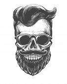 Bearded Skull Face Tattooed. Skeleton Head With Mustache, Beard And Sunglasses Black Vector Illustra poster