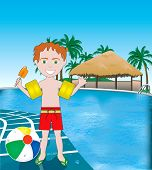 stock photo of floaties  - Vector Illustration of poolside resort with beach ball - JPG