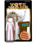 A candidate for election is packaged and sold as an action figure to promote his political campaign