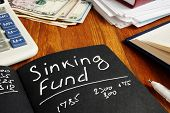 Sinking Fund Sign On The Page And Calculator. poster