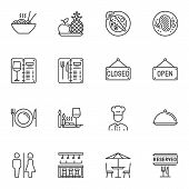 Restaurant Line Icons Set. Linear Style Symbols Collection, Outline Signs Pack. Vector Graphics. Set poster
