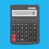 The Calculator Desktop With The Lcd Display. Vector Graphic Office Element Of Design In Flat Style.  poster