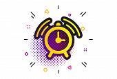 Alarm Clock Sign Icon. Halftone Dots Pattern. Wake Up Alarm Symbol. Classic Flat Alarm Icon. Vector poster