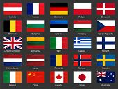 World Flags Collection With Names. National Official Colors Flags Of European Countries And Some Big poster