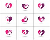 Spa And Salon Logo Design Set, Beauty Lady In Heart Shape Vector Icons, Cosmetics And Makeup Artist  poster
