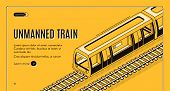 Concept Banner With Unmanned Electric Train On Railway On Yellow Background. Automated Transport, Au poster