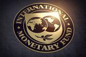 IMF International Monetary Fund symbol or sign. 3d illustration poster