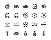 Skin Care Flat Glyph Icons Set. Moisturizing Cream, Anti Age Lifting Face Mask, Spf Whitening Gel Ve poster
