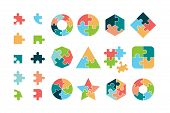 Puzzle Collection. Business Different Jigsaw Round And Square Geometrical Forms Tags Puzzle Pieces V poster