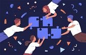 Teamwork And Team Building Flat Vector Illustration. Coworkers Assembling Jigsaw Puzzle Cartoon Char poster
