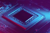 Futuristic Electronic Component. Modern Chip (cpu Or Gpu) With Futuristic Cyber Neon Light. Selectiv poster