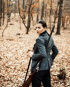 Hunter Woman Hunting. Hunting In Autumn Forest. Portrait Of Beauty Woman Hunter. Hunting Season poster