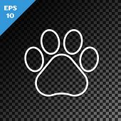 White Line Paw Print Icon Isolated On Transparent Dark Background. Dog Or Cat Paw Print. Animal Trac poster
