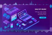 3d Isometric Template Of E-commerce Site Of Music, Online Store Page With Songs. Shopping Service, P poster
