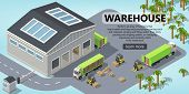3d Isometric Site Template With Warehouse, Trucks For Shipping, Logistic. Site With Button. Portal B poster