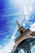 Paris Famous Landmarks. Eiffel Tower In Blue Sky, Paris France, Web Banner poster