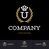 Illustration Of Luxury Vintage Crest Logo With Letter U In The Middle And Luxury Crown. Calligraphic poster