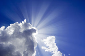 image of sun rays  - Beautiful blue sky with sun ray over the clouds - JPG