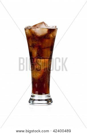 Glass Full Of Cola And Ice On White