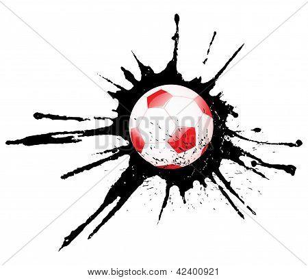 Soccer ball and ink splash