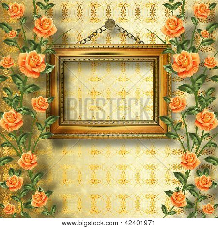 Old Wooden Frame For Photo With Garland Of Painting Rose