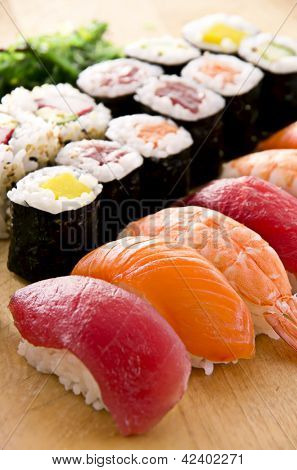 sushi with rolls on the plate