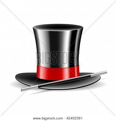 Chapéu mágico e varinha mágica no fundo branco