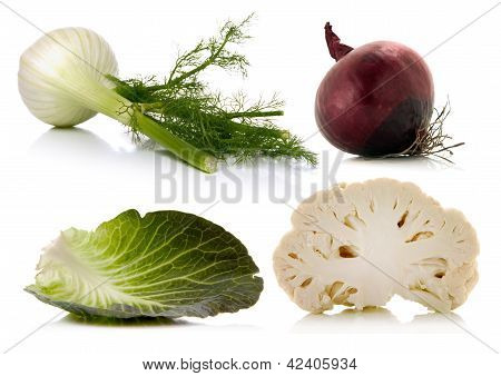 Vegetables Over White Background