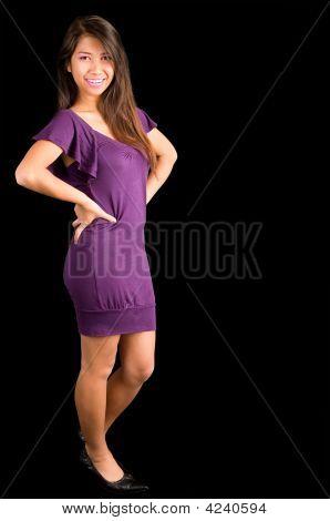 Beautiful Latino Lady Posing In A Purple Dress