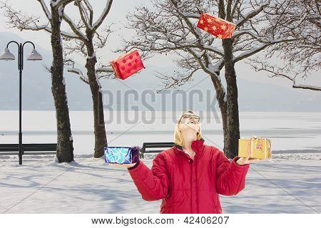 Juggling In A Beautiful Snowscape