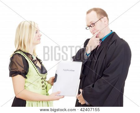 A Staff Executive Interviews A Young Woman