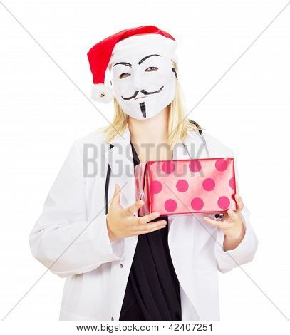 Medical Doctor With A Guy Fawkes Mask