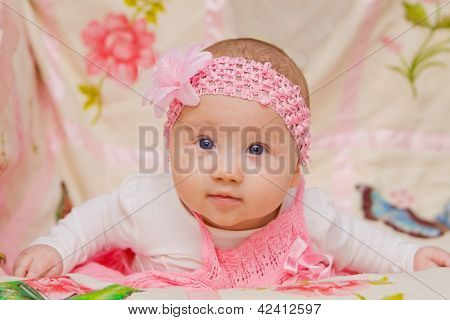 Baby Girl On Flower Blanket
