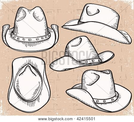 Cowboy Hat Collection Isolated On White For Design