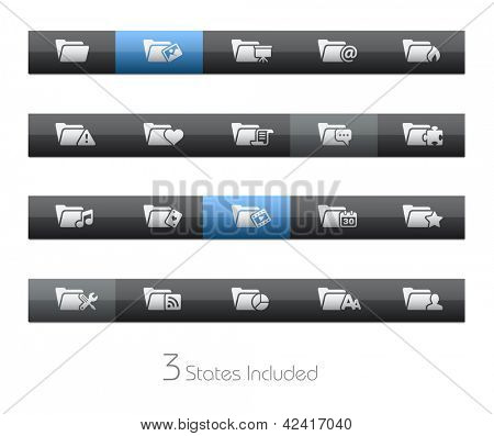 Folder Icons - 2 of 2 // Blackbar Series + It includes 3 buttons states in different layers. +