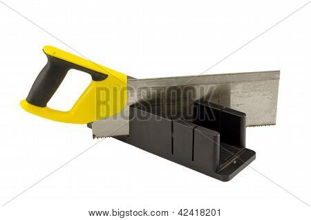 Plastic Saw Angle Cut Miter Box Tool On White