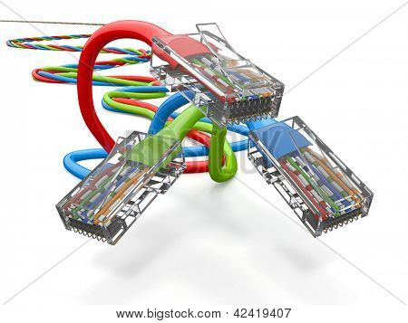 Three computer network cables rj45 on white background. 3d