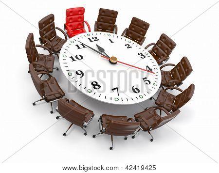 Konzept der Sitzung oder brainstorming. Kreis-Tabelle als Taktgeber und Sesseln. 3D