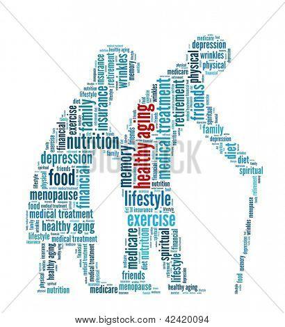 Envejecimiento saludable en collage de palabra