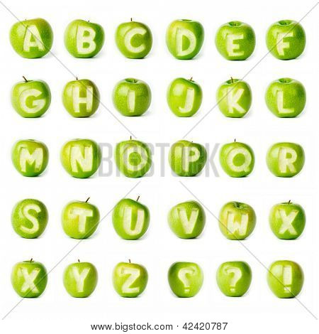 Fresh green apple alphabet. Part of the collection.