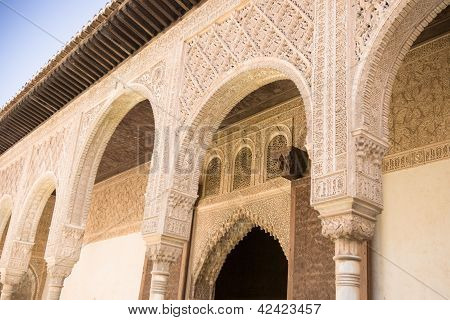 Courtyard In The Palacio Nazaries At The Alhambra In Granada, Spain