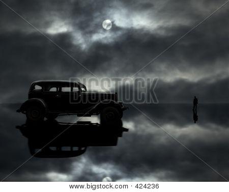 Car,man And Moon