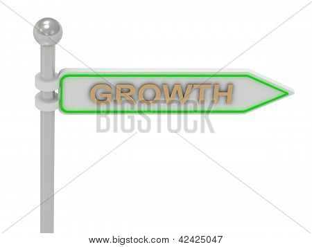 "3D Rendering Of Sign With Gold ""growth"""
