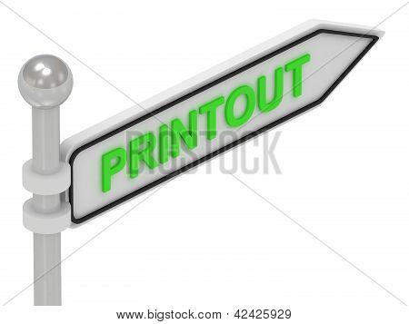 Sinal de seta impresso com letras