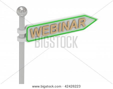 "3D Rendering Of Sign With Gold ""webinar"""